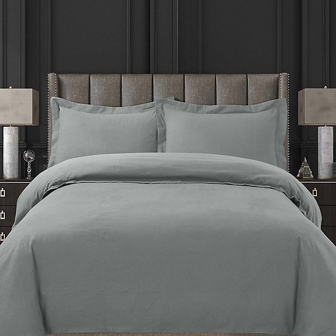 Alternate image 1 for Tribeca Living Solid Flannel Duvet Cover Set