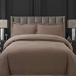 Tribeca Living Solid Flannel King Duvet Cover Set in Otter