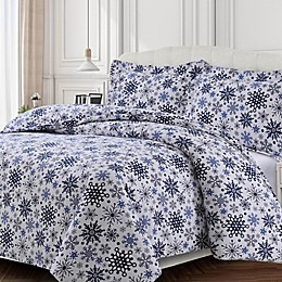 Tribeca Living Snowflakes Flannel Duvet Cover Set