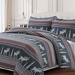 Tribeca Living Winter Reindeer Flannel Duvet Cover Set