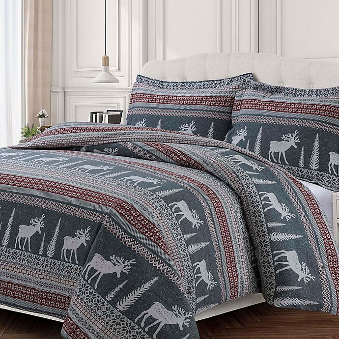 Alternate image 1 for Tribeca Living Winter Reindeer Flannel Duvet Cover Set