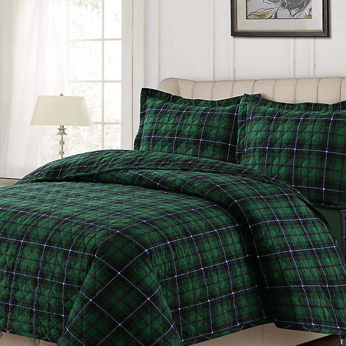 Tribeca Living Cambridge Plaid Quilt Set In Green Bed
