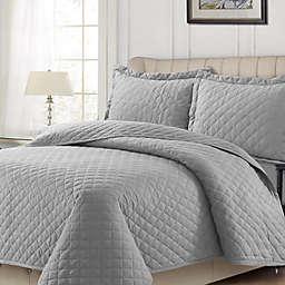 Tribeca Living Solid Flannel Quilt Set