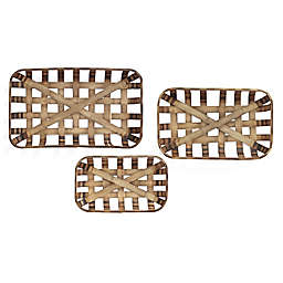 Stratton Home Décor Woven Wood Baskets in Brown (Set of 3)