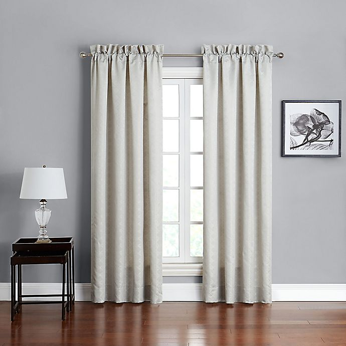 Alternate image 1 for Marquis® by Waterford Lacy 84-Inch Rod Pocket Window Curtain Panel Pair in Silver