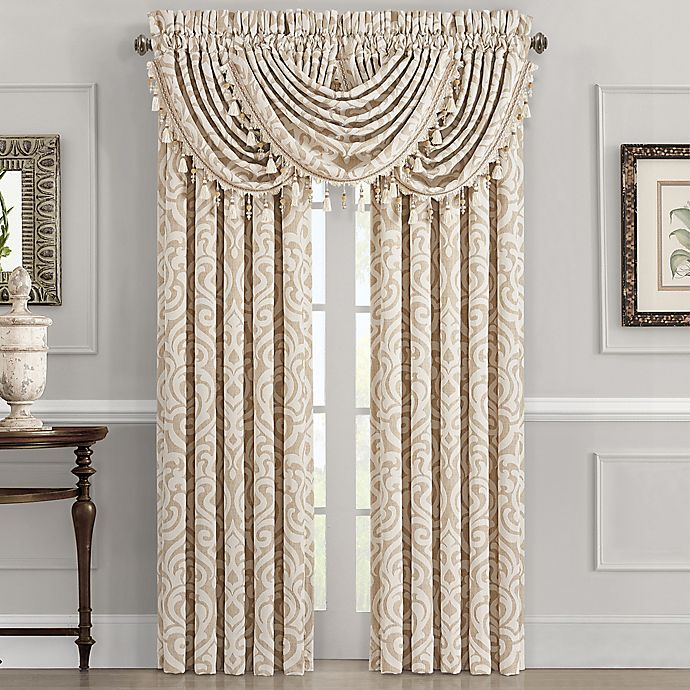 J Queen New York Milano 2 Pack 84 Inch Rod Pocket Window Curtain In Sand Bed Bath Beyond