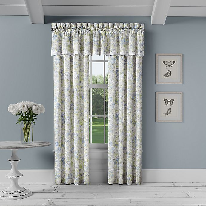 Alternate image 1 for Piper & Wright Flowerbed 84-Inch Rod Pocket Window Curtain Panel in Blue