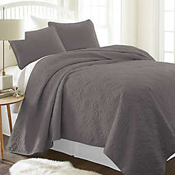 Damask 2-Piece Twin/Twin XL Quilt Set in Grey