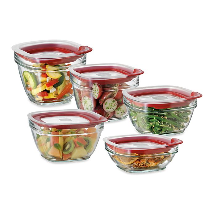 Alternate image 1 for Rubbermaid® Glass Food Storage Containers with Easy-Find Lids