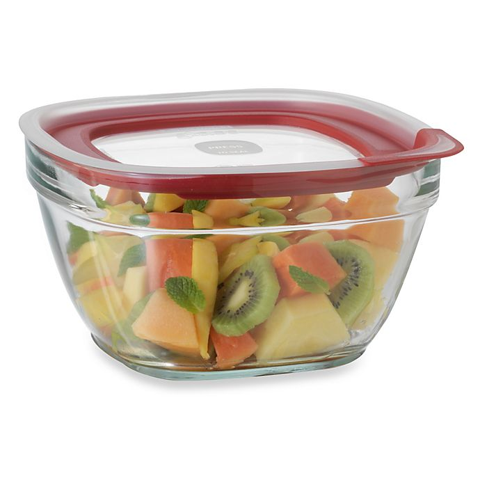 Alternate image 1 for Rubbermaid® 11.5 Cup Square Glass Food Storage Containers with Easy-Find Lid