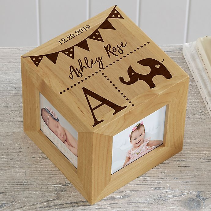 Alternate image 1 for Baby Block Personalized Wood Photo Cube