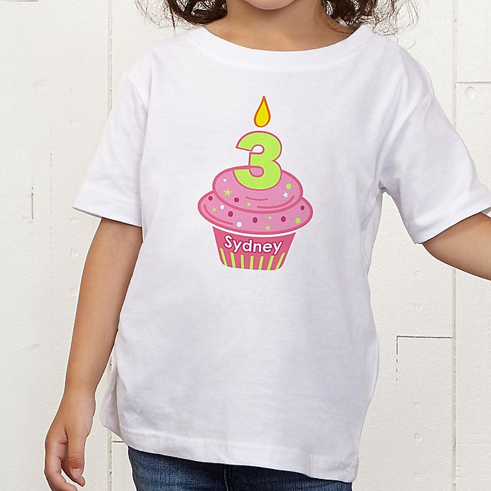 Alternate image 1 for My Little Cupcake Personalized Birthday Toddler T-Shirt