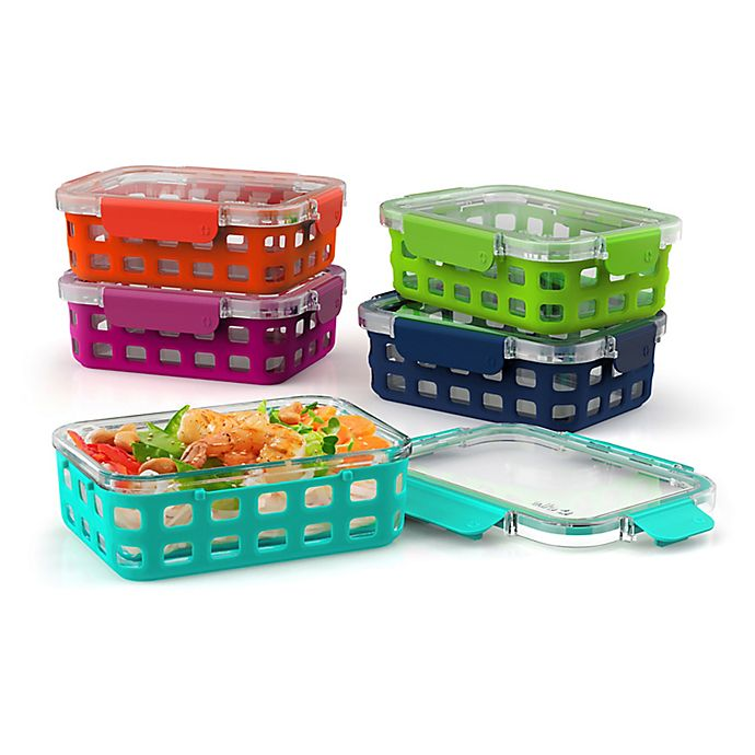 Alternate image 1 for Ello 10-Piece 3.4 Cup Multicolor Glass Food Storage Container Set