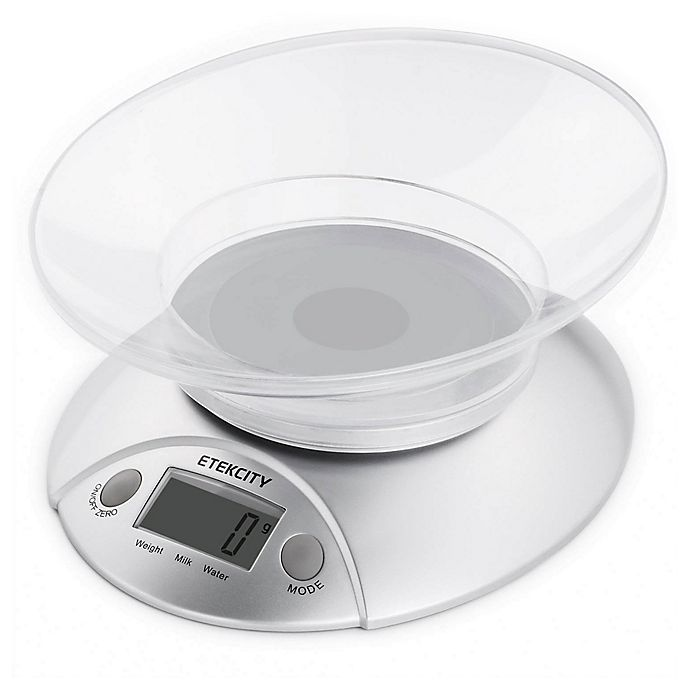 Alternate image 1 for Etekcity Digital Kitchen Food Scale in Silver with Detachable Bowl