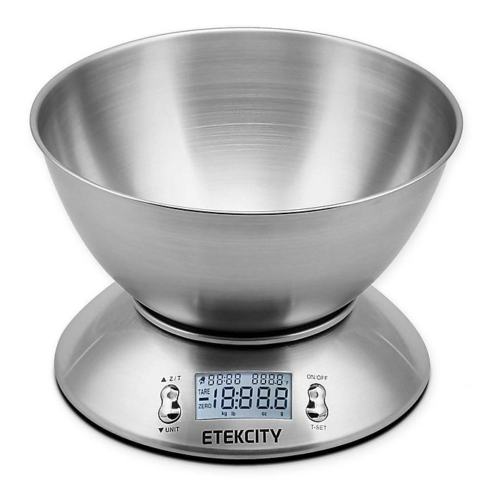 Alternate image 1 for Etekcity Digital Stainless Steel Kitchen Food Scale with Timer and Detachable Bowl