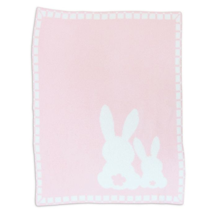 Alternate image 1 for Living Textiles Bunny Chenille Baby Blanket in Pink