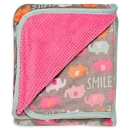 Baby Starters® Happy Elephants Plush Reversible Blanket in Pink