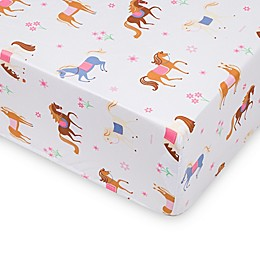 Wildkin Horses Fitted Crib Sheet in Pink