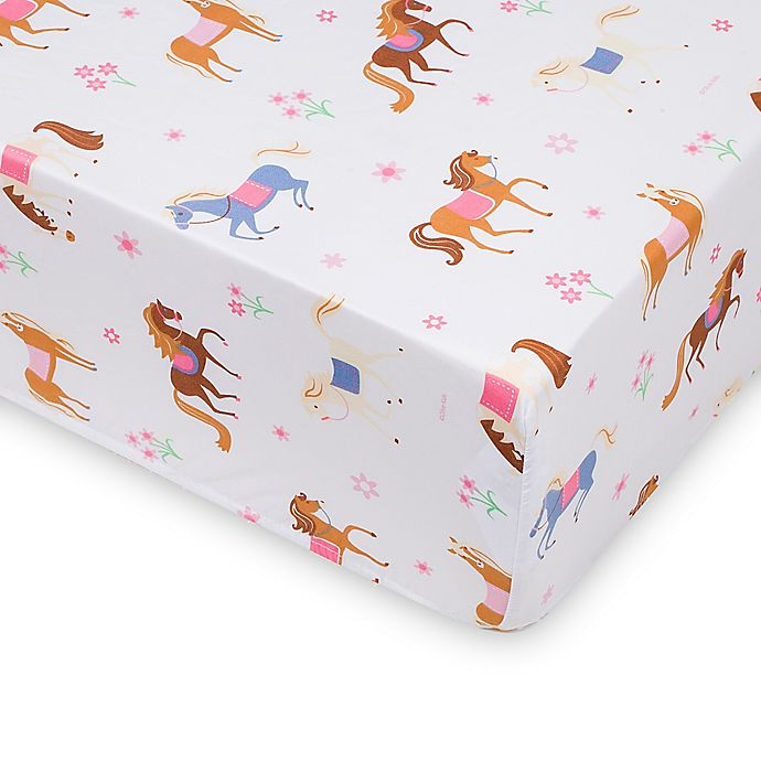 Alternate image 1 for Wildkin Horses Fitted Crib Sheet in Pink