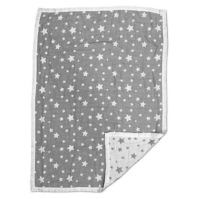 Alternate image 1 for Living Textiles Jacquard Stars Baby Blanket in Grey