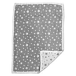 Living Textiles Jacquard Stars Baby Blanket in Grey