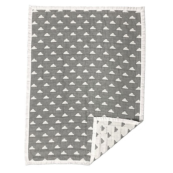 Alternate image 1 for Living Textiles Muslin Jacquard Baby Blanket in Grey
