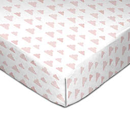 Living Textiles Muslin Fitted Crib Sheet in Pink Clouds