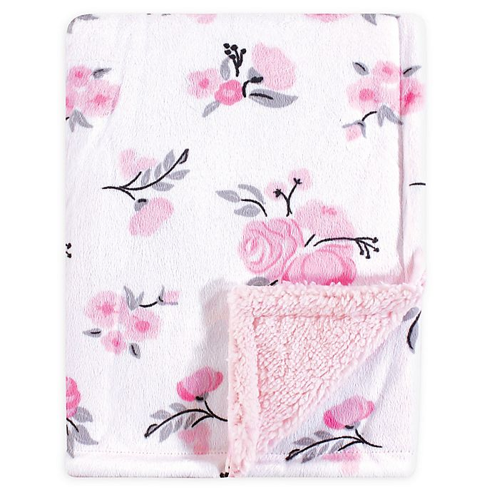 Alternate image 1 for Hudson Baby® Mink Floral Baby Blanket in Pink