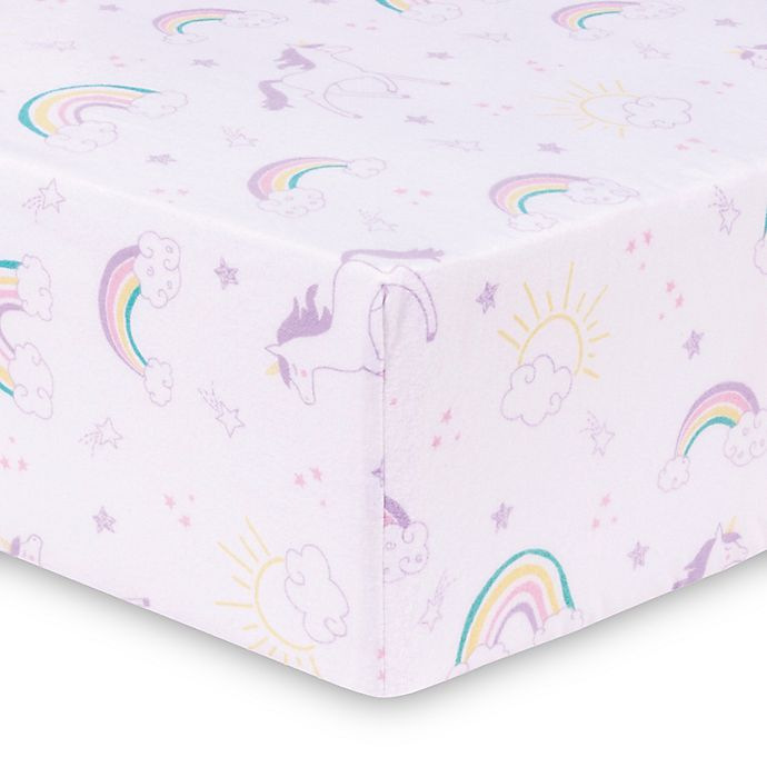Trend Lab 174 Unicorn Rainbow Deluxe Flannel Fitted Crib