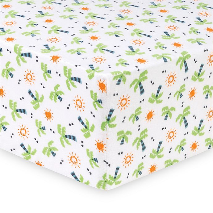 Alternate image 1 for Trend Lab® Dinosaur Palm Deluxe Flannel Fitted Crib Sheet