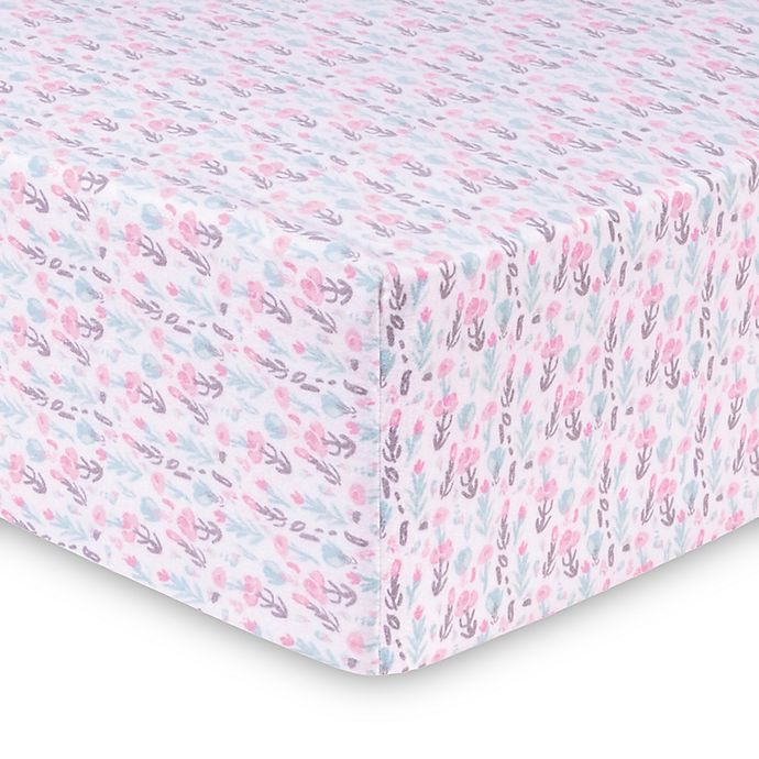 Alternate image 1 for Trend Lab® Painterly Floral Deluxe Flannel Fitted Crib Sheet
