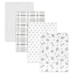 Trend Lab® 4-Pack Safari Chevron Receiving Blankets in Grey/White