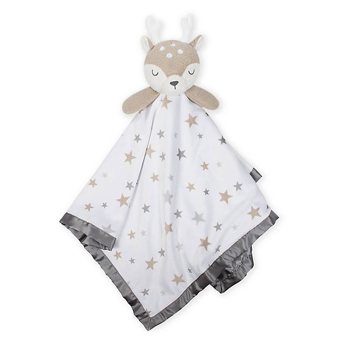 Alternate image 1 for Just Born® XL Plush Deer Security Blanket in Grey/White