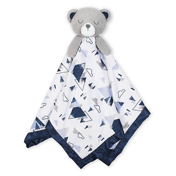 Alternate image 1 for Just Born® XL Plush Bear Security Blanket in White/Blue