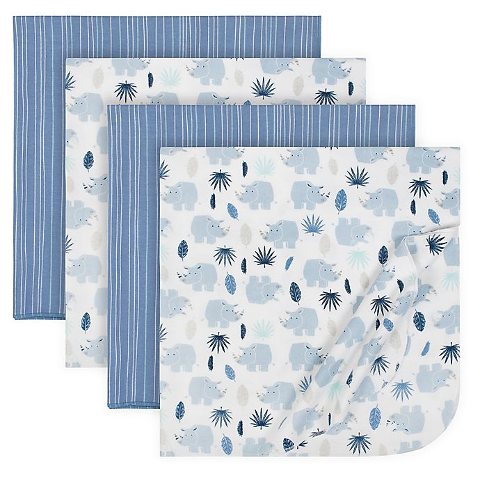 Alternate image 1 for Just Born® 4-Pack Flannel Blankets in Blue/Grey