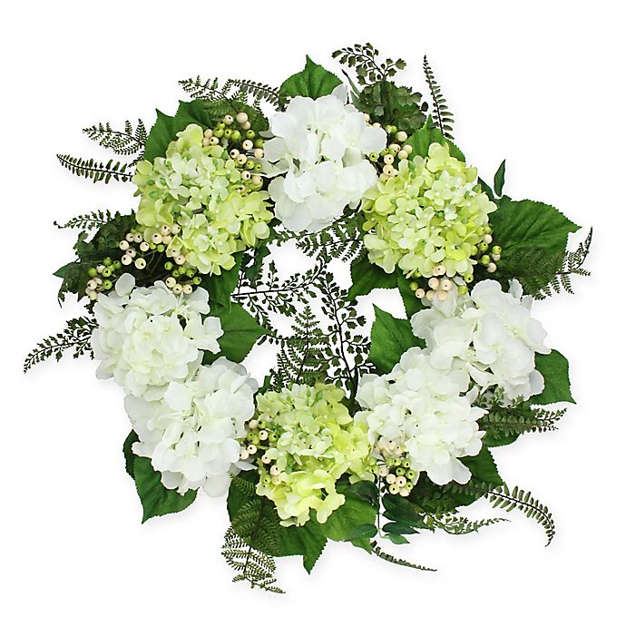 Alternate image 1 for 24-Inch Artificial Hydrangea and Berry Floral Wreath in White/Green