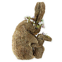 Northlight Straw Bunny Mother & Daughter Figurine