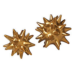 Global Views Urchin Sculpture in Antique Gold