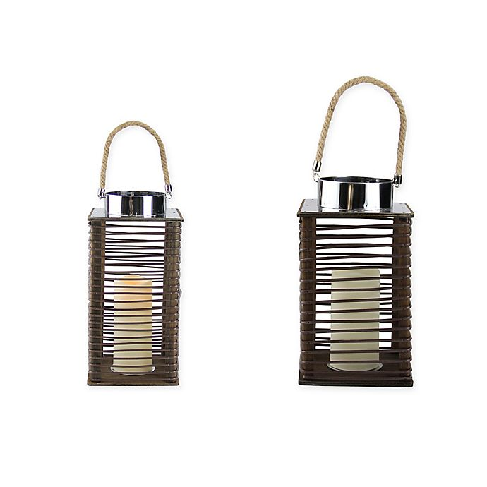 Alternate image 1 for Gerson Wooden Lantern in Brown with LED Pillar Candle