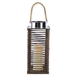 Gerson 15.5-Inch Wooden Lantern in Brown with LED Pillar Candle