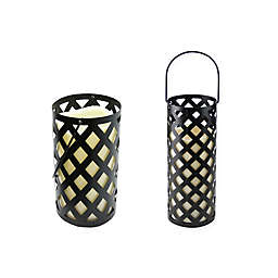 Gerson Metal Lantern in Black with LED Pillar Candle