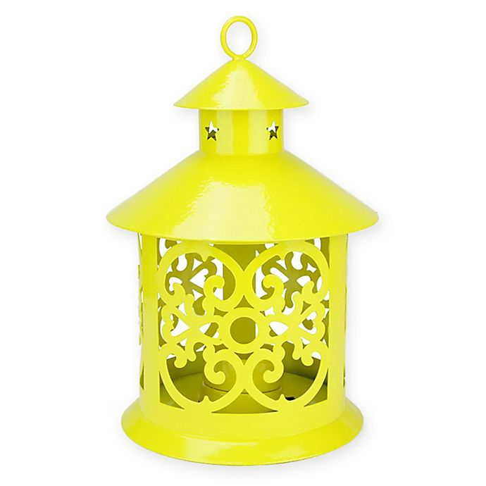 Alternate image 1 for Northlight 8-Inch Tealight Candle Holder Lantern in Yellow