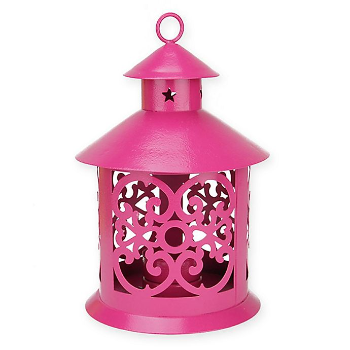 Alternate image 1 for Northlight 8-Inch Tealight Candle Holder Lantern in Pink