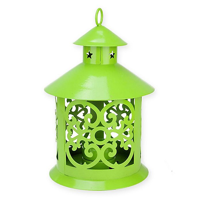 Alternate image 1 for Northlight 8-Inch Tealight Candle Holder Lantern in Green