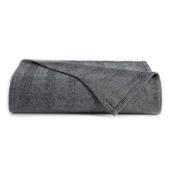Alternate image 1 for Downtown Company Herringbone Reversible Queen Throw Blanket in Grey/White