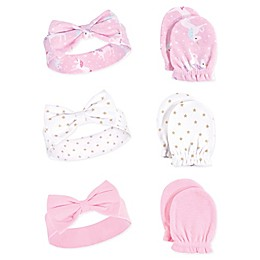 Hudson Baby® Unicorn 6-Piece Headband and Scratch Mitten Set in Pink