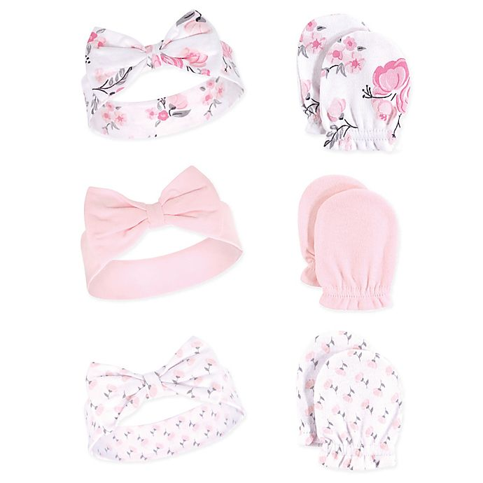 Alternate image 1 for Hudson Baby® Floral 6-Piece Headband and Scratch Mitten Set in Pink
