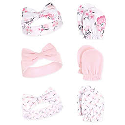 Hudson Baby® Floral 6-Piece Headband and Scratch Mitten Set in Pink