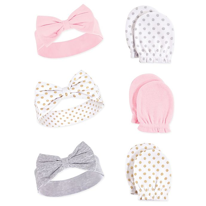 Alternate image 1 for Hudson Baby® Dots 6-Piece Headband and Scratch Mitten Set in Grey