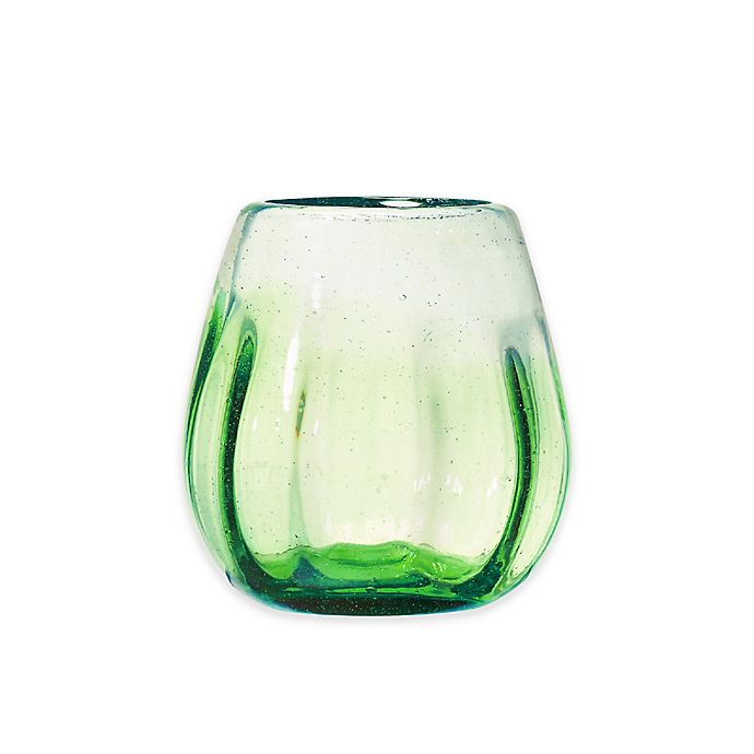 Alternate image 1 for Global Amici Rosa Stemless Wine Glasses in Lime Ombre (Set of 4)